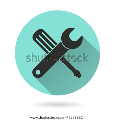 Tool vector icon. Black Illustration isolated on green background for graphic and web design. - stock vector