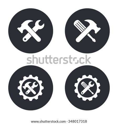 Tool   - vector icon in white  on a black background. - stock vector