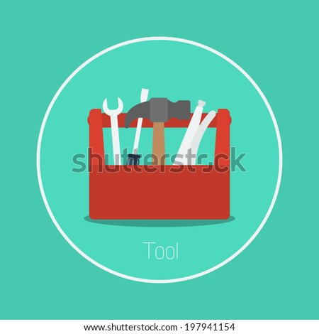 Tool : Vector toolbox icon flat design - stock vector