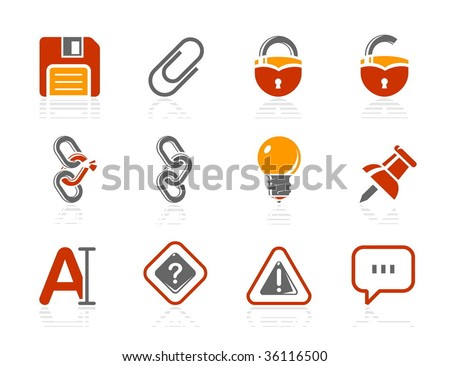 Toolbar and Interface icons. Vector icon set. Three color icons. - stock vector