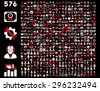 Toolbar Icon Set. 576 flat bicolor icons use red and white colors. Vector images are isolated on a black background. - stock vector