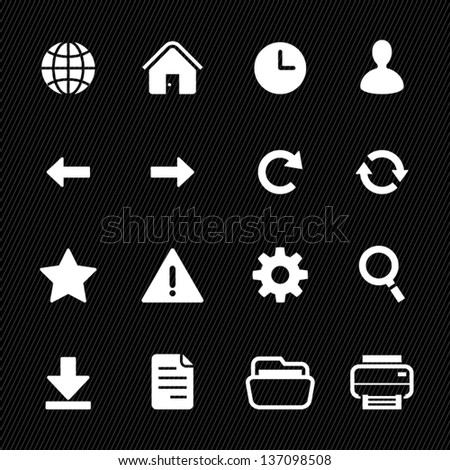 Toolbar Icons and Web Icons with Black Background