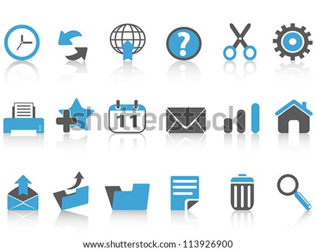 toolbar icons set,blue series - stock vector