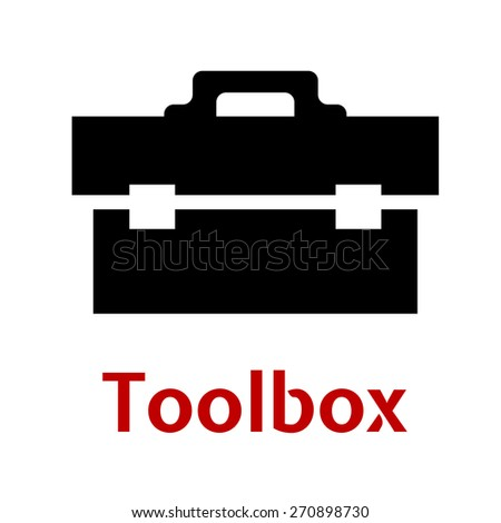 Toolbox black icon silhouette as close box with tools isolated on white background - stock vector