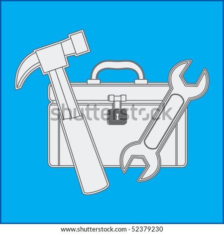 toolbox blueprint - stock vector