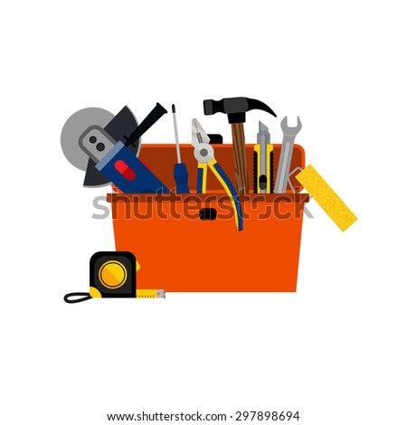 Toolbox for DIY house repair and home renovation with power and hand tools concept vector illustration - stock vector