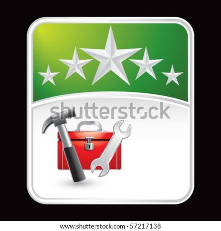 toolbox green star backdrop - stock vector