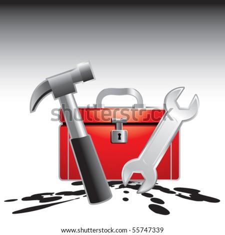 toolbox splattered - stock vector