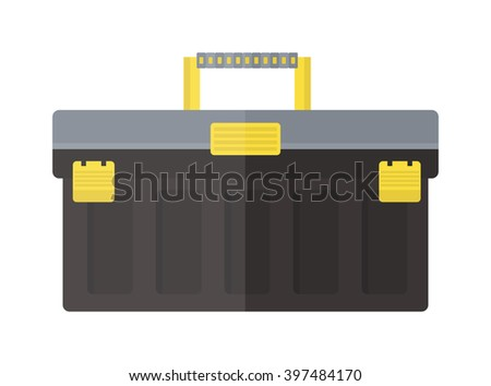 Toolbox with instruments construction work equipment vector. Toolbox home instruments vector. Toolbox and some instruments flat style. Toolbox with instruments vector isolated - stock vector