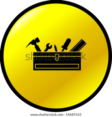 toolbox with tools button - stock vector