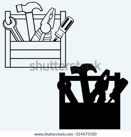 Toolbox with tools. Isolated on blue background - stock vector
