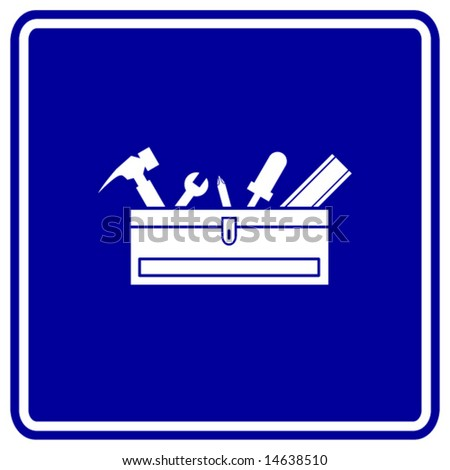 toolbox with tools sign - stock vector