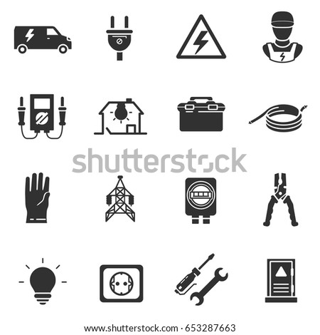 Tools And Equipment For Electrical Work Electrician Monochrome Icons Set Energetics Simple