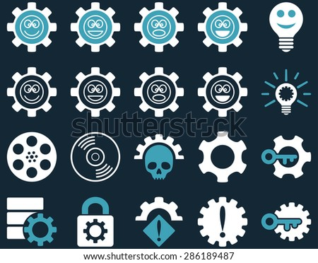Tools and Smile Gears Icons. Vector set style: bicolor flat images, blue and white colors, isolated on a dark blue background.