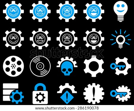 Tools and Smile Gears Icons. Vector set style: bicolor flat images, blue and white colors, isolated on a black background.
