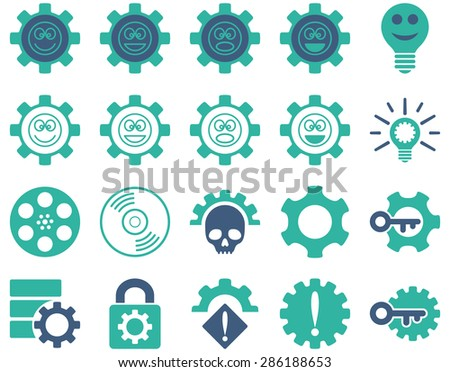 Tools and Smile Gears Icons. Vector set style: bicolor flat images, cobalt and cyan colors, isolated on a white background.