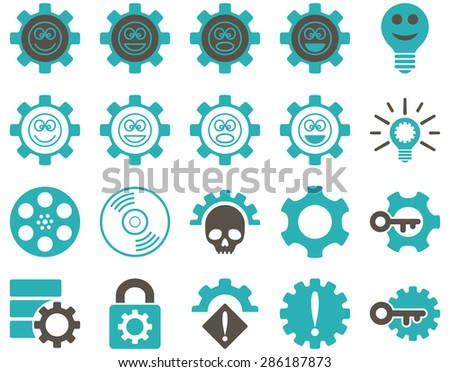 Tools and Smile Gears Icons. Vector set style: bicolor flat images, grey and cyan colors, isolated on a white background.