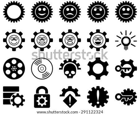 Tools and Smile Gears Icons. Vector set style: flat images, black color, isolated on a white background.