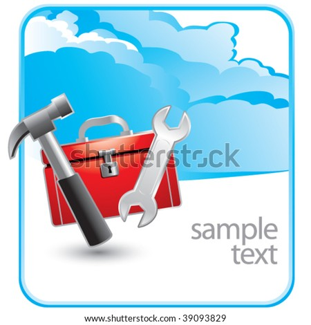 tools and toolbox on cloud advertisement - stock vector