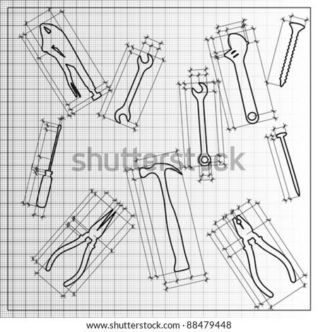 tools blueprint sketch, vector - stock vector