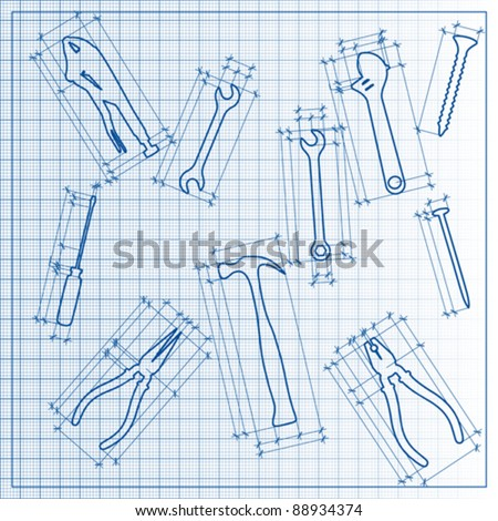 tools blueprint sketch, vector