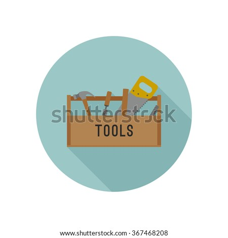 Tools box flat icon with tools. Vector illustration. - stock vector