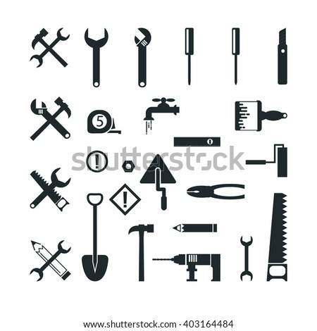 tools Construction Icons set Working hammer build roller drill measurement cutter    vector brush spanner saw  - stock vector