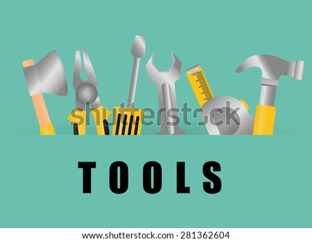 Tools design over green background, vector illustration. - stock vector