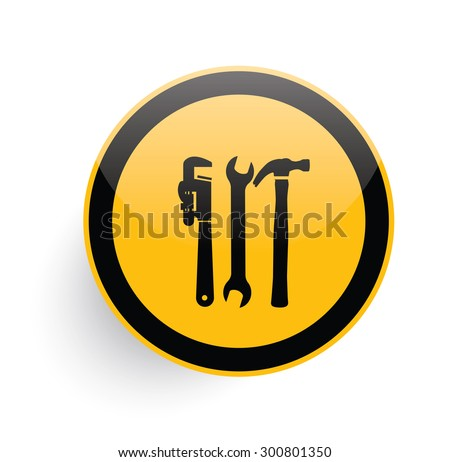Tools,engineer icon on yellow button background,clean vector - stock vector