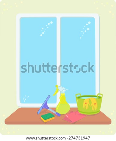 Tools for cleaning window: a squeegee, a sponge, a spray bottle, a bucket with water and gloves, a rag