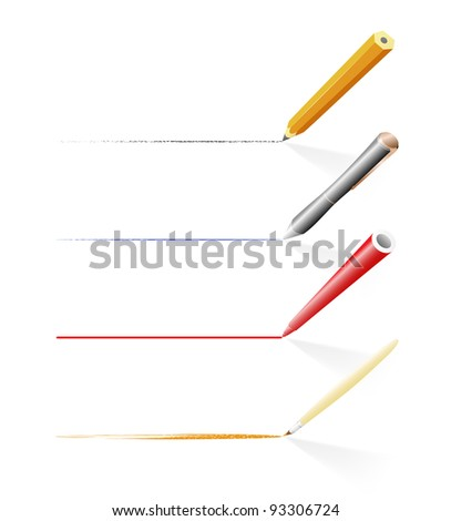 Tools for drawing and writing (pencil, pen, felt pen and brush) - stock vector