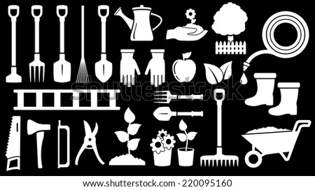 tools for gardening work on black background - stock vector