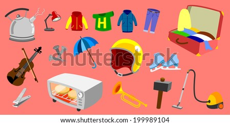 Tools for home use objects - stock vector