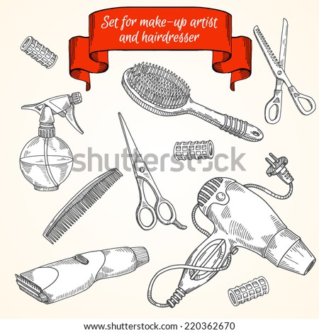 Tools for make-up and hairstyle:hair dryers, scissors, comb, curlers, Clipper, trimmer, atomizer - stock vector