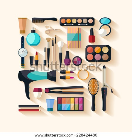 Tools for makeup. Flat design. - stock vector