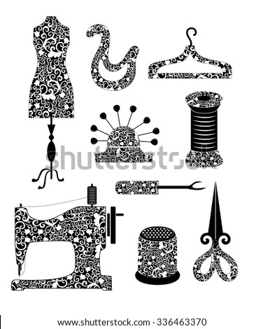Tools for sewing production (dummy patterns, hangers, needle bar, pin, spool of thread, seam ripper stitches, sewing machine, thimble, scissors) in vintage style - stock vector