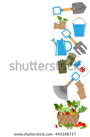 tools for working in the garden and a basket of fresh vegetables, vector illustration