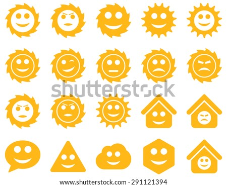 Tools, gears, smiles, emotions icons. Vector set style: flat images, yellow symbols, isolated on a white background. - stock vector