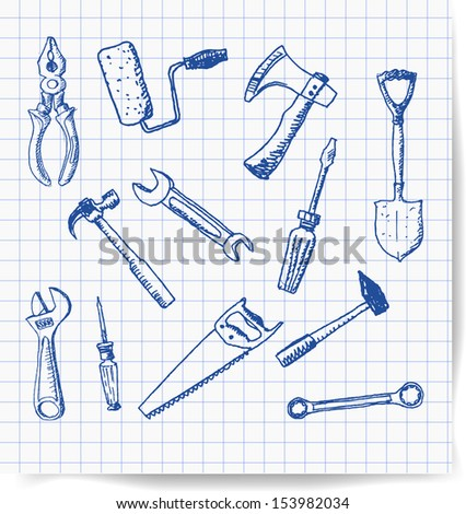 Tools hand drawn in sketchy style. Vector illustration. - stock vector