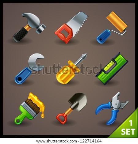 tools icon set-1 - stock vector