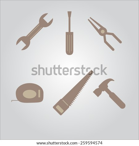 tools icon set cross with each other isolated on background - stock vector