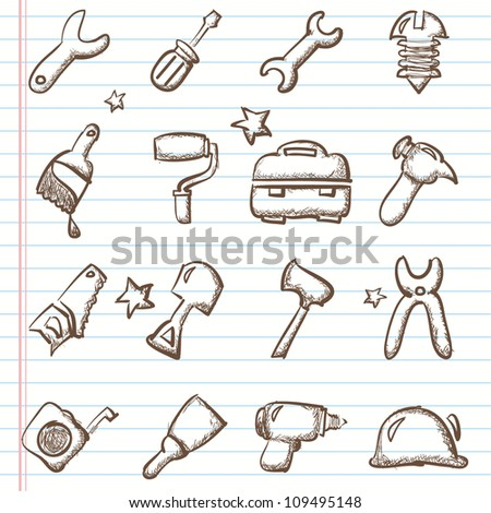 Tools icon set -Doodles - stock vector