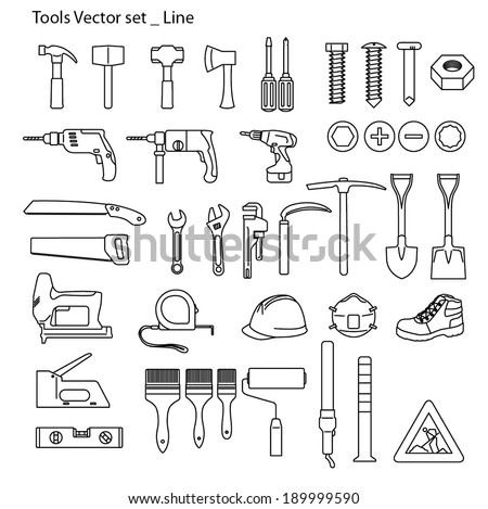 Tools icon set - line - stock vector