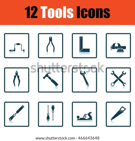 Tools icon set. Shadow reflection design. Vector illustration.