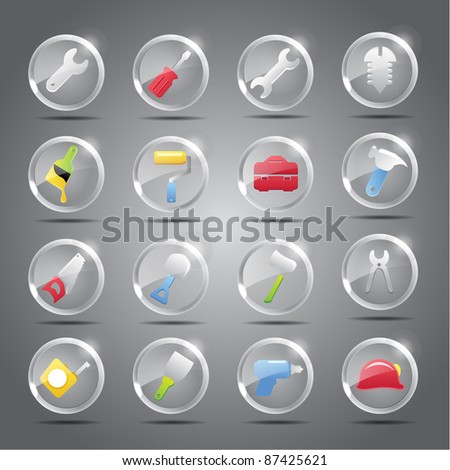 Tools icon set -Transparent Glass Button - stock vector