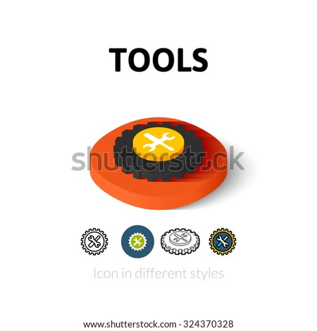 Tools icon, vector symbol in flat, outline and isometric style - stock vector