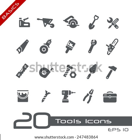 Tools Icons // Basics - stock vector