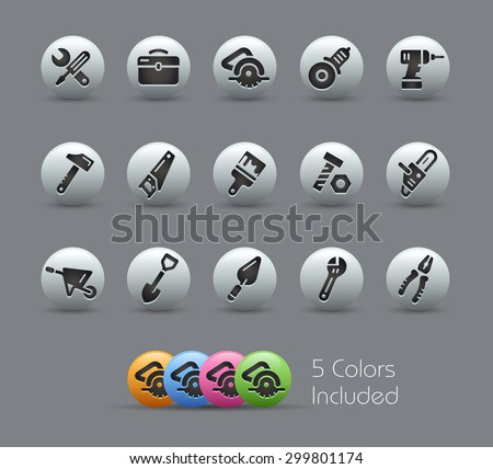 Tools Icons // Pearly Series ----- The Vector file includes 5 color versions for each icon in different layers ----- - stock vector