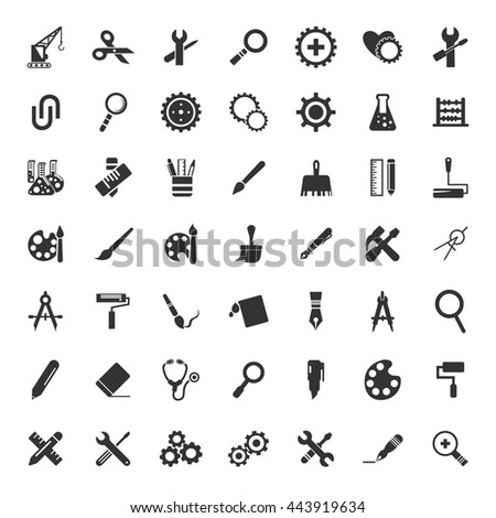 Tools icons set - stock vector