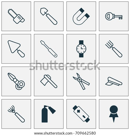Tools Icons Set Collection Attraction Alkaline Stock Vector Royalty